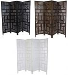 4 Panel Hand Carved Indian Screen Wooden Screen Divider Circle Jali 177x183cm(SCR7VAA)